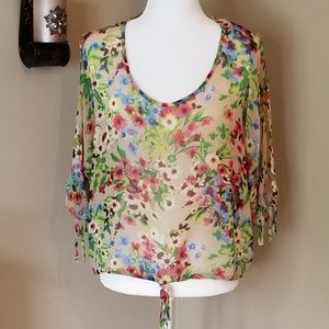 Floral Open Sleeve Blouse
